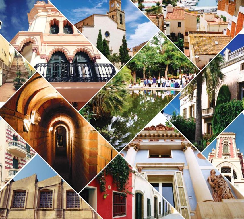 Composició amb imatges del patrimoni arquitectònic masnoví.