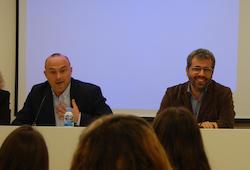 Alcaldes Jaume Oliveras (el Masnou) i Andreu Francisco (Alella) en una jornada sobre ocupació, novembre del 2017.
